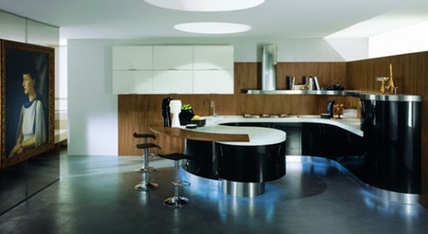 help your apartments with curved kitchen cabinet built-in lights