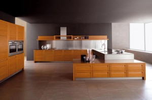 high quality teak kitchen materials and stainless steel create classical modern kitchen
