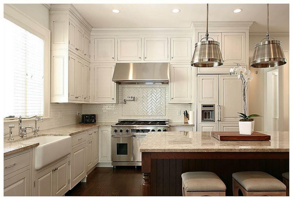 houzz two toned kitchens houzz white herringbone backsplash pendant lights wood island two toned kitchens
