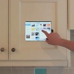 iPad Mounted in Kitchen Cabinet easily removed with a lift and then slide up