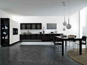 integrated LED kitchen lights combine with brown and white finished