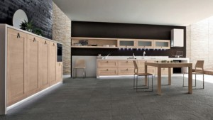 integrated LED kitchens lights combine with brown and white finished