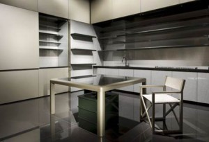 kitchen cabinet fronts in golden with neat satin finish by Giorgio Armani