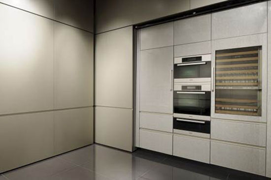 kitchen cabinets fronts in golden with neat satin finish by Giorgio Armani