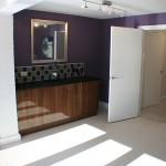 kitchen color settings White and purple for 3m x 3m small kitchen design interior