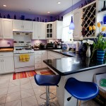 kitchen color settings White and purple for 3m x 3m small kitchens design interior