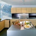 kitchen design with thick worktoptop cupboard and natural panels in light or dark finishes