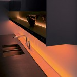 kitchen design with thickworktop top cupboard and natural panels in light or dark finishes