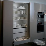 kitchen design withthick worktop top cupboard and natural panels in light or dark finishes