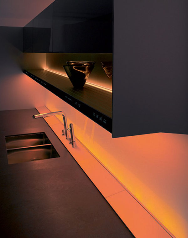 kitchen entertainment system with flat screen TV and hi-fi and natural panel in light or dark finishes
