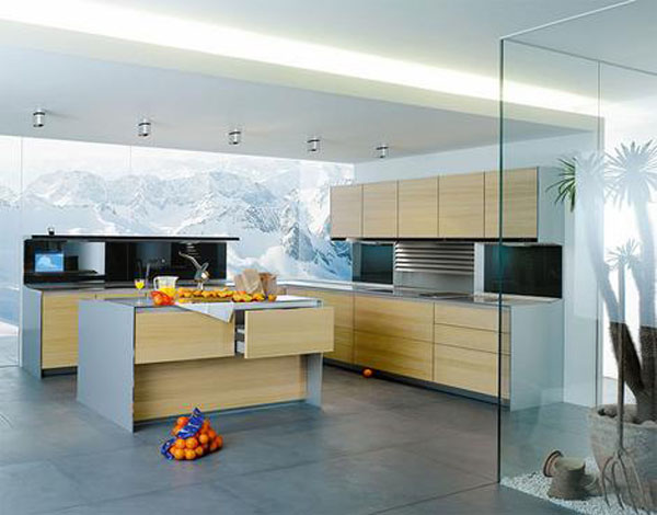 kitchen entertainment system with flat screen TV and hi-fi and natural panels in light or dark finishes