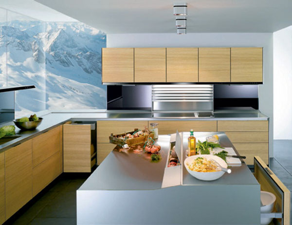 kitchen entertainment system with flat screen TV and hi fi natural panels in light or dark finishes