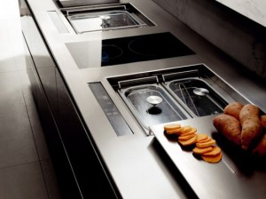 kitchen hoods with blue LED backlighting from Italy by Toncelli