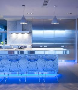 kitchen lighting in blue light with european kitchen style