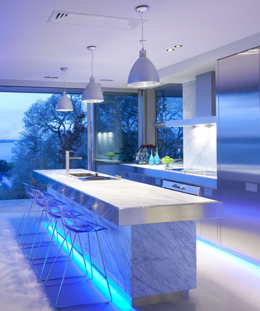 kitchen lighting in blue light with european kitchen style