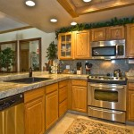 kitchen oak cabinets with light
