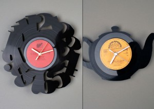 kitchen wall clocks design ideas use Vinyl records clocks of many unique shape