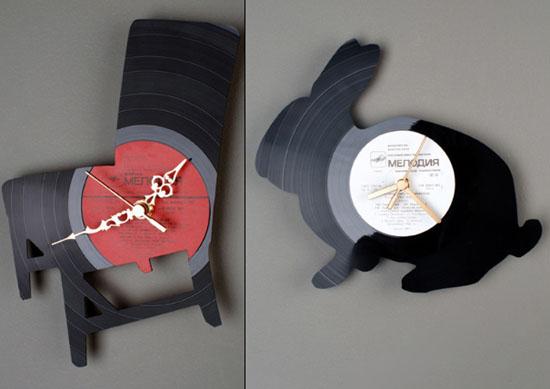 kitchen wall clocks design ideas use Vinyl records clocks of many unique shapes