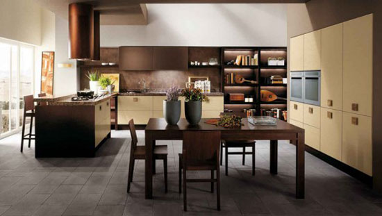 kitchens designer for Scavolini use light oak as kitchen table and chair
