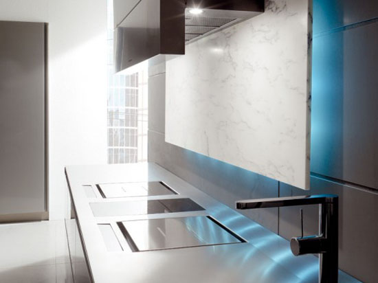 kithens hood with blue LED backlighting from Italy by Toncelli