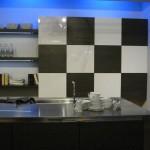 large sliding door chessboard and vertical cabinet interesting kitchen lighting
