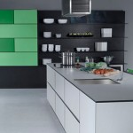 massive paneled wall units Urban Kitchen from Bazzeo New Gaia covered with a light organic pattern