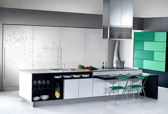 massive paneled wall units Urban Kitchens from Bazzeo New Gaia covered with light organic pattern