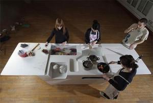 mini kitchen island for condo or small apartment with minimalist style
