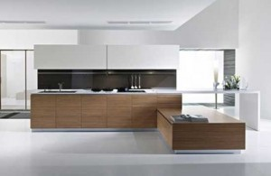 Minimalist kitchen design with brown white color themes