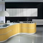 Minimalist kitchen design with yellow color themes