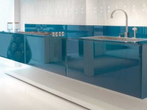 minimalist simple shapes straight lines and Cobalt Finish Kitchen Design By Scic