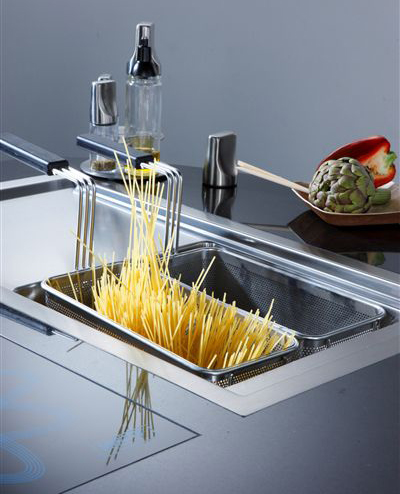 mobile Italian kitchen design ideal for an open house concept