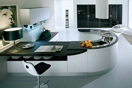 modern Round kitchen countertops from pedini super ergonomic technologies