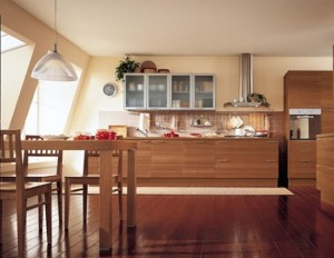 modern kitchen accessories with natural wood tone is minimalist and geometric