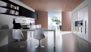 Modern kitchen design in black and white color