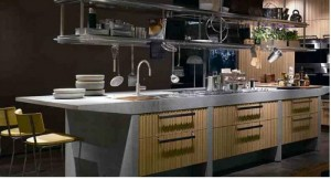 modern kitchen made from natural plantation grown sustainable Larch wood and stone
