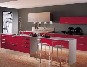 modern kitchens accessories with natural wood tones is minimalist and geometric