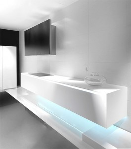 modern stainless steel white with blue LED light