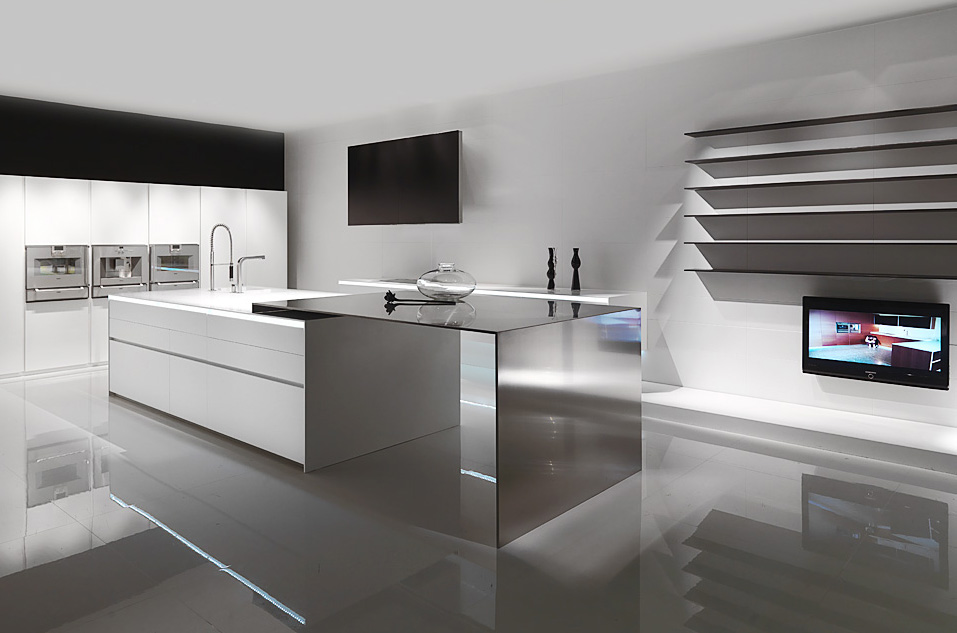 Modern Stainless Steel White With Blue LED Light From MK