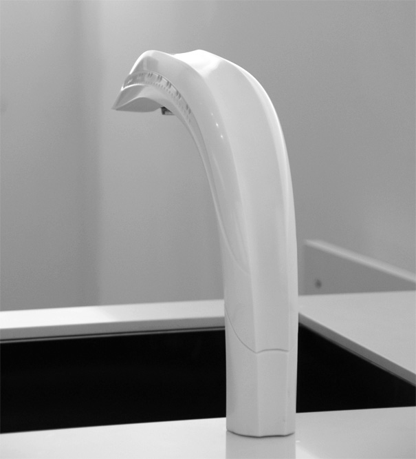 modern touchless kitchen tap with hand in gesture sensor designed by Jasper Dekker