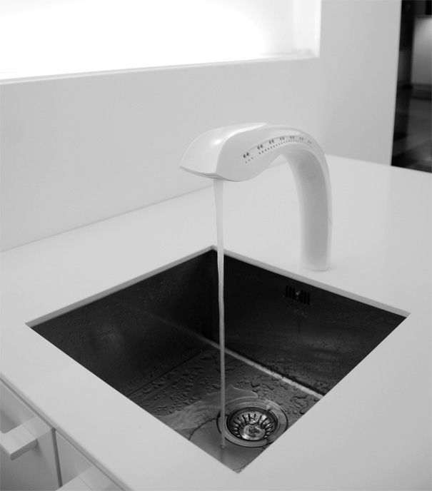 modern touchless kitchen tap with hands in gesture sensor designed by Jasper Dekker