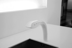 modern touchless kitchen tap with hands in gestures sensor designed by Jasper Dekker