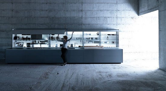 nano coated ergonomic kitchen use force of gravity technology by Valcucine kitchens