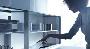 nano coated ergonomics kitchen use force of gravity technology by Valcucine kitchen
