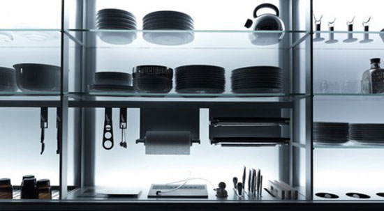 nano coated ergonomics kitchens use force of gravity technology by Valcucine kitchen