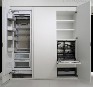 natural lava stone wood steel and aluminium achieves geometrical harmony Italian white kitchen design