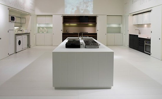natural lava stone wood, steel and aluminium achieves geometrical harmony Italian white kitchen design
