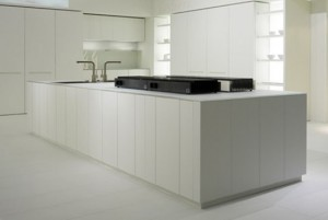 natural lava stone, wood, steel and aluminium achieves geometrical harmony Italian white kitchen designs