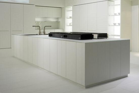 natural lava stone, wood, steel and aluminium achieves geometrical harmony Italian white kitchen designs