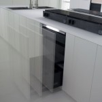 natural lava stone, wood steel and aluminium achieves geometrical harmony Italian white kitchens design